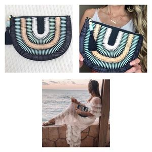 Navy Semi-Circle Beaded Clutch